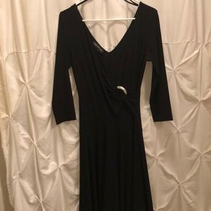 Black faux wrap dress with full skirt